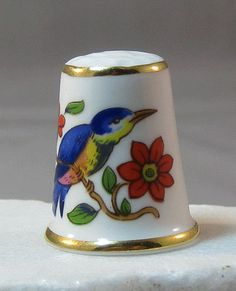 Ansley England Bone China Thimble with Bluebird and Flowers from Antique-ables