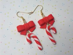 Candy cane earrings FIMO