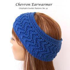 Crochet Pattern Headband Earwarmer Ripple Chevron Zig Zag Stitch, Easy Crochet Pattern, INSTANT DOWNLOAD - No. 35