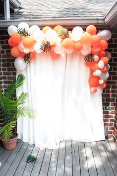 Tropical themed first birthday party balloon arch themed first birthday party balloon arch //<br> Tropical themed first birthday party balloon arch Hawaiian Birthday, Luau Birthday, Adult Birthday Party, First Birthday Parties, Balloon Birthday, 16th Birthday, Birthday On The Beach, Adult Luau Party, Twenty First Birthday