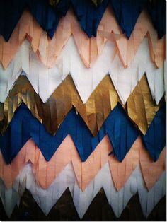 Fringed chevron backdrop for pictures on Bid Day