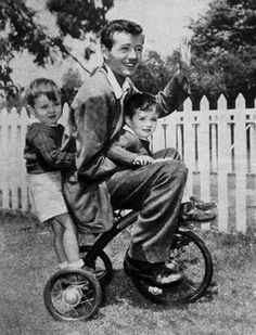 Robert Walker rides with Robert Jr. and Michael, his sons with actress wife Jennifer Jones.
