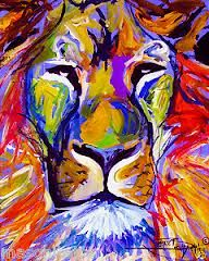 lion abstract painting