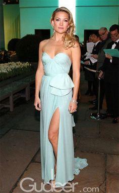 Sky Blue Strapless Sweetheart Long Split Chiffon Prom Dress