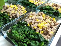 beast prepping for the week  I mean meal prepping  used a whole bag of fresh spinach from Costco! #mealprep #mealprepsunday #groundturkey#tricoloredcorn#spinach #healthyfood #healthylifestyle #healthy by pamcakez