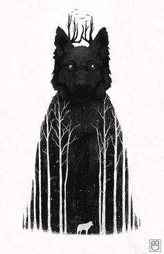 The Wolf King by Dan Burgess #illustration #wolf #wolves #snow #dark #trees #black #white