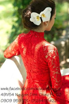 Red lace ao dai. Flower in hair
