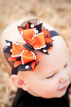 SALE Trick or Treat Halloween Combo Bow Baby Petite Headband, Halloween bow, Infant Headband, Boutique Baby Bow, Halloween Headband. $9.95, via Etsy.