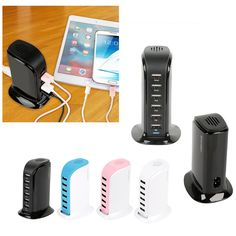 Universal 6 USB Multi-Port Travel Wall Charger Desktop Quick Charging Station #KOCASO