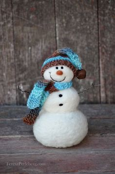 Solid wool needle felted Snowmen 503 by BearCreekDesign