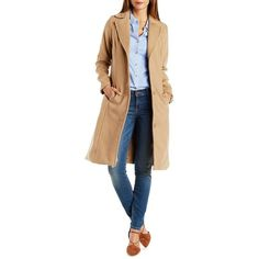 Charlotte Russe Camel Wool Blend Trench Coat with Pockets by Charlotte... ($45) ❤ liked on Polyvore featuring outerwear, coats, camel, charlotte russe, lapel coat, camel trench coat, wool blend trench coat and blue coat