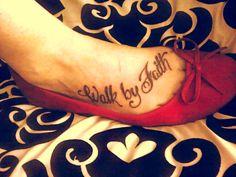 """""""For we walk by faith, not by sight."""" -2 Corinthians 5:7    Words to live by and now a constant reminder. We all face struggles in our lives, and the future may not always be clear. But I choose to live my life having faith. Faith that I'm making the right choices. Faith that everything will turn out okay in the end. Faith that God has a plan for me, and my daughter, greater than I can even imagine. ♥    This is my first tattoo! And I'm absolutely in love with it (:"""