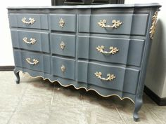 Custom color mix using Abusson Blue and Graphite.  Updated hardware using gold gilders paste.  Custom order from a customer