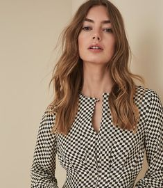 Shop our stylish contemporary womenswear ran Reiss Dresses, Iconic Dresses, Check Printing, Flare Dress, Dress Collection, Polka Dot Top, Fit And Flare, Trendy Outfits, High Fashion