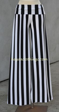 Black White Stripes, Black And White, Casual Couture, Wide Leg Palazzo Pants, Stripe Print, Clothing, How To Wear, Outfits, Fashion