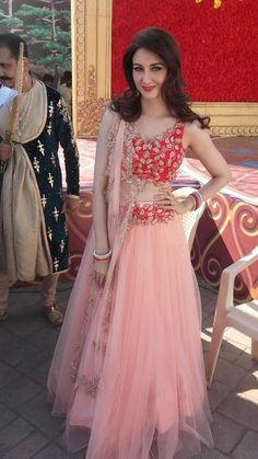 Two Pieces Prom Dress A-line V neck Applique Elegant Long Prom Dresses/Evening Dress Lehnga Dress, Lehenga Choli, Net Lehenga, Sharara, Plain Lehenga, Floral Lehenga, Lehenga Style, Patiala, Indian Dresses