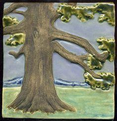 Craftsman style Solitary Oak Tree Triptych 3 от RavenstoneTiles