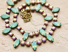 Mint Blue Opal & Crystal AB Tennis Neckalce,Swarovski Rhinestone Necklace,RARE Pacific Opal Marquise,Northern Lights,Pastel Rainbow,Bridal on Etsy, $58.00