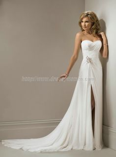 Buy Sheath/Column Sweetheart Elegant Style Chiffon Wedding Dresses CHWD-30087 with Split-Front Empire Wedding Dresses under $327.99 only in Dressywomen.
