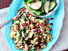 """Christmas Rice"" – Wild Rice with Spinach and Pomegranates 