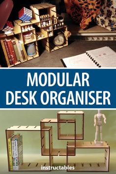 Keep your desk neat with this laser cut, modular desk organizer that consists of 4 boxes that can be intersected in a variety of ways. Large Rubber Bands, Vector Power, Clean Desk, Finger Joint, A Shelf, Wood Glue, Office Organization, Declutter, Life Hacks