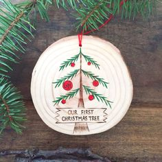 An adventure to pick out your very first Christmas tree is a wonderful holiday memory.  A piece of your tree trunk makes a great keepsake ornament.
