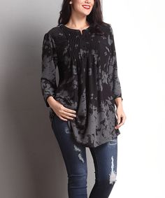 Black & Gray Floral Notch Neck Pin Tuck Tunic - Plus by Reborn Collection #zulily #zulilyfinds