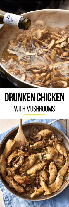 This drunken chicken with mushrooms recipe is one of those meals that's perfect for a quick and easy weeknight dinner or a healthy date night. The best way to make moist chicken is to get it drunk! For this stove top meal (no need for it to be baked!) you'll need boneless skinless chicken breasts, all-purpose flour, low-sodium chicken broth, dry white wine, olive oil and cremini mushrooms.