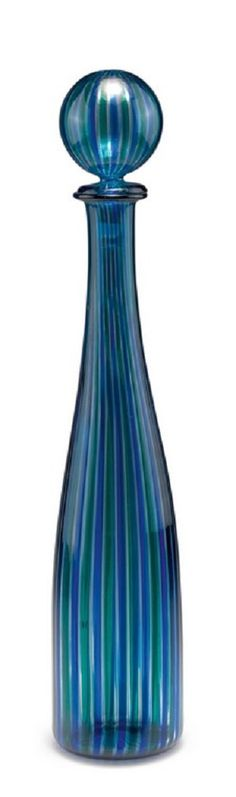 Gio Ponti. 'A canne' bottle and stopper, c1946-50. H. 49.5 cm. Clear glass with fused vertical ribbons, green and blue. Marked: venini italia