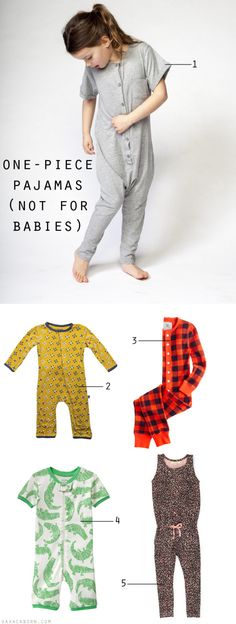 One-Piece Pajamas for 3T and above - Not for Babies - via Oaxacaborn.com
