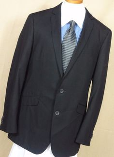 Kenneth Cole Reaction Men's Black 2 Button Polyester Blend Sport Coat Size 42L #KennethColeReaction #TwoButton