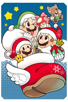Santa Mario's by pepaden on DeviantArt Super Mario Art, Super Mario World, Super Mario Brothers, Mario Bros., Mario Kart, All Mario Games, Nintendo, Paper Mario, Super Smash Bros