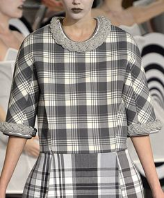 Grey check top and skirt by Thom Browne