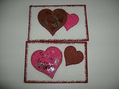 Sunshower Quilts: Valentine's Heart Snow-Globe Fabric Postcards or Mug Rugs.