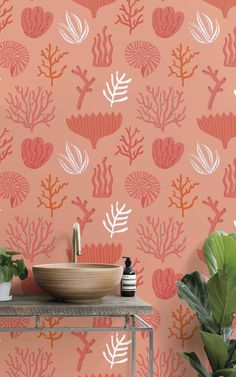 6 Rookie Mistakes to Avoid When Decorating With Pantone's Color of the Year Coral Wallpaper, Pattern Wallpaper, Wallpaper Murals, Red Gold, Tropical Bathroom, Coral Bathroom, Modern Bathroom, Bathroom Ideas, Estilo Interior
