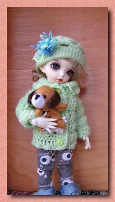 3 pcs Hand knit sweater and trousers 1/6 bjd fairyland LittleFee Bisou + Toy #BJD