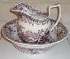 CA 1830s Purple Transferware Staffordshire Peacock Large Wash Pitcher Bowl Set | eBay