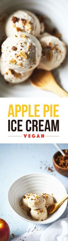 A creamy, dreamy vegan ice cream that tastes just like apple pie. Topped with a seriously delicious cinnamon oat crumble - one that even lets you sneak in the leftover apple peels!: