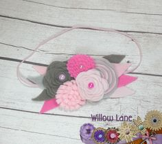 Felt Flower & Feather Baby Headband Blush by WillowLaneHeadbands                                                                                                                                                                                 More