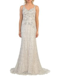 Silver and Nude Crystal Formal Dress