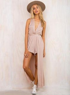 Mocha Valentino Playsuit by Runaway the Label Maxi overlay playsuit Crossed; low V neckline Belted waist; with belt loops Pleated design Invisible zip at back.