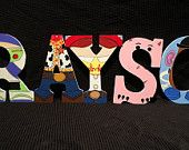 Items similar to Disney Toy Story letter art. Hand painted wood letters. Kids room/nursury wall decoration. Price listed is per letter! on Etsy