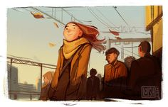girl, wind, hear, autumn.  Loish