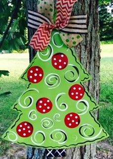 Christmas Tree Door Hanger - Unfinished Make a BIG statement in your home with this sign! Our door hangers are professionally laser cut fro Big Christmas Tree, Christmas Tree Painting, Christmas Crafts, Painted Christmas Tree, Whoville Christmas, Christmas Yard Art, Xmas, Painted Doors, Wooden Doors