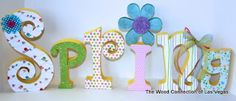 """The Wood Connection of Las Vegas:   """"Spring"""" made with wood letters from our """"Suzy Q,"""" """"Andreas,"""" and """"Curly"""" alphabet collections!"""