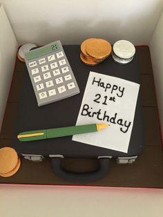 Brief case accountancy birthday cake