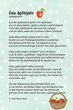 The apple year, poem from the apples on the apple tree meadow - Elementary Education School Readiness, German Language, Apple Tree, Elementary Education, Science, Eat Cake, Storytelling, Poems, Teaching