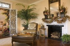 Amazing Traditional Ideas With Laminated Wooden Floor Also Fur Rugs And Fireplace With Black Bricks Combine With Beige Wall Also Plant Pot Ornaments Also Fir Leafs And Gold Balls Christmas Ornaments Also Wall Mirror And Wall Flowers Vase Also Floral Pattern Fabric Sofas And Coffe Table Also Side Table And Floral Texture Iron Glass Door of Stunning Home Traditional Decorating Ideas from Interior Ideas