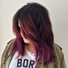 Are you looking for Dk Brown Purple Burgundy hair color hairstyles? See our collection full of Dk Brown Purple Burgundy hair color hairstyles and get inspired! Purple Balayage, Hair Color Balayage, Ombre Hair, Violet Ombre, Purple Ombre, Red Purple, Burgundy Hair Ombre, Purple Highlights, Balayage Highlights