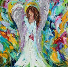 Original Angel Love PALETTE KNIFE painting in oil by Karensfineart